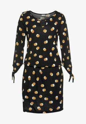 Shift dress - schwarz gelb bedruckt