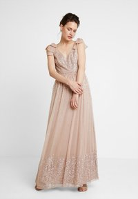 Maya Deluxe - SCATTER EMBELLISHED MAXIDRESS WITH BOW SHOULDER DETAIL - Ballkjole - taupe blush - 1