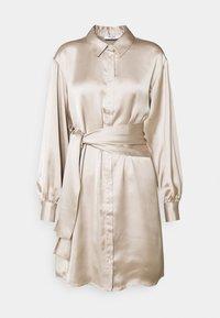 FRONT KNOT SATIN SHIRT DRESS - Shirt dress - beige