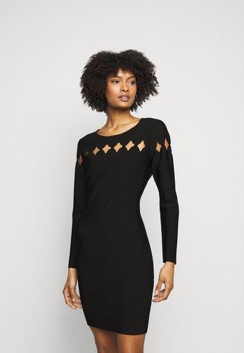 SCALLOP CUT OUT FITTED DRESS - Pouzdrové šaty - black