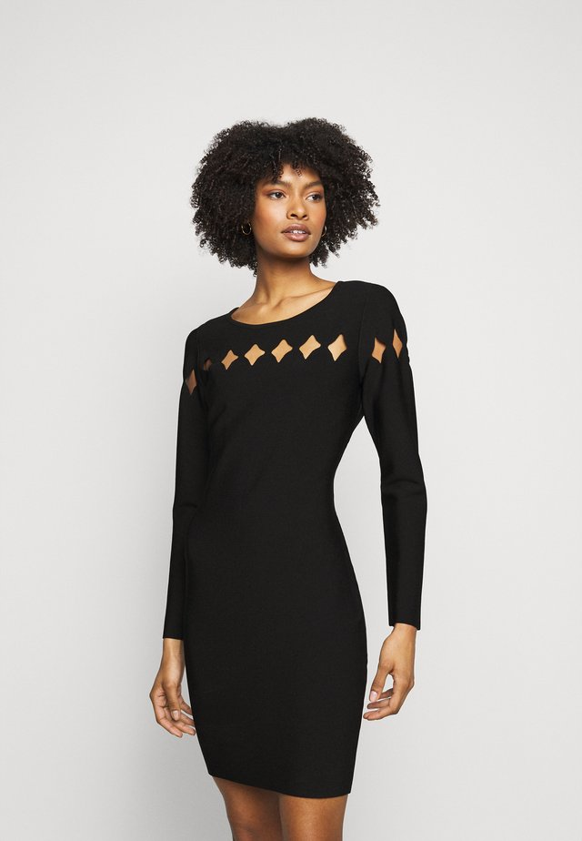 SCALLOP CUT OUT FITTED DRESS - Etui-jurk - black