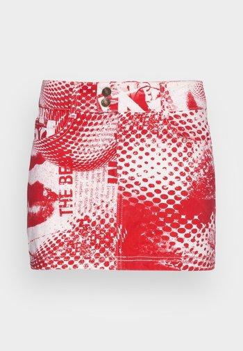 SCREEN MINI SKIRT - Minigonna - red/ white