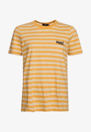 Print T-shirt - ochre marl/off white marl
