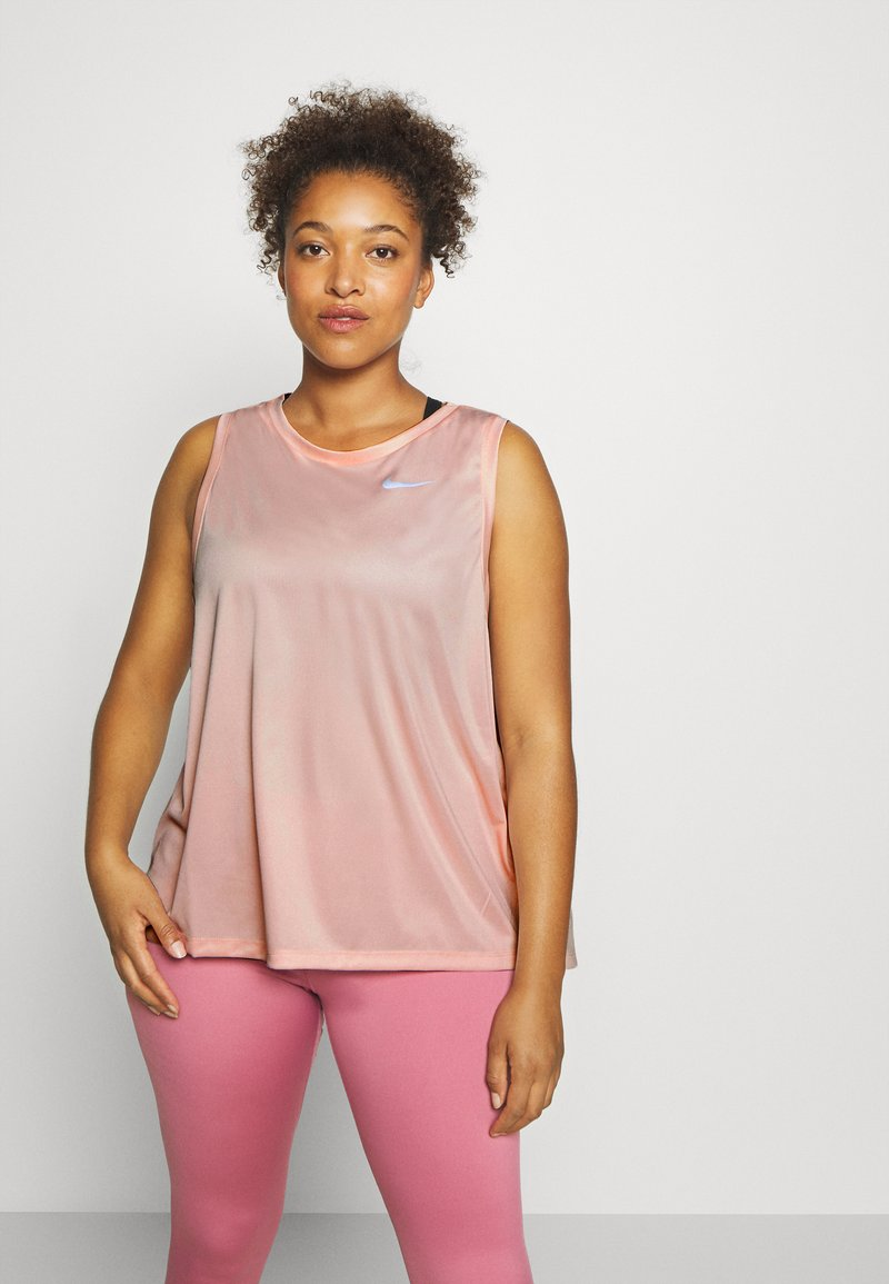 Nike Performance - MILER TANK PLUS - Sports shirt - washed coral/reflective silver