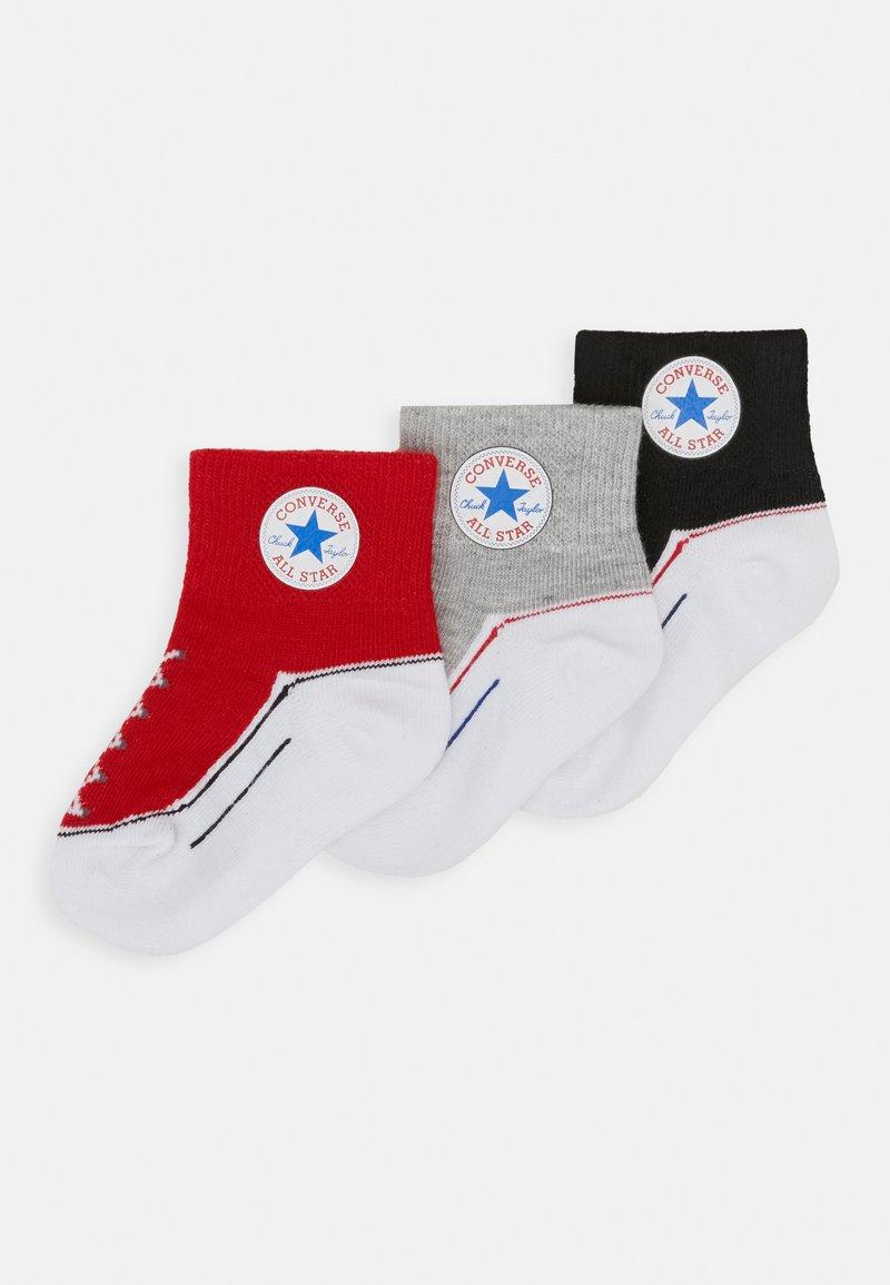 Converse - CHUCK INFANT QUARTER 3 PACK UNISEX - Socks - black/light red/grey