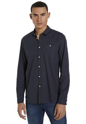Shirt - navy grid triangle print