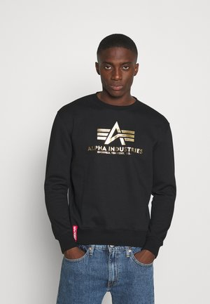 BASIC FOIL PRINT - Sweatshirt - black/yellow gold