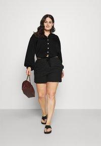 Simply Be - TIE FRONT BUTTON THROUGH BLOUSE - Button-down blouse - black - 1