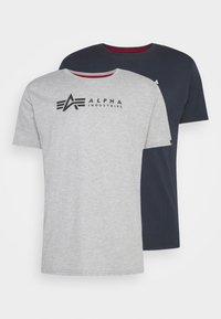 ALPHA LABEL 2 PACK - Print T-shirt - grey heather/rep blue