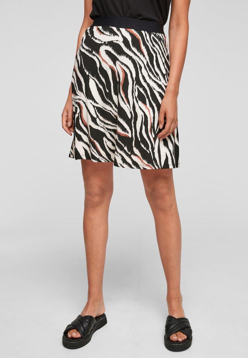 s.Oliver - A-line skirt - black zebra aop