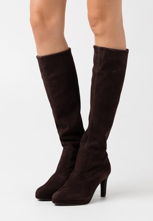 PAULINE - High heeled boots - dark brown