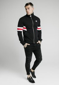 SIKSILK - ZIP THROUGH FUNNEL NECK - Felpa aperta - black/white/red - 1