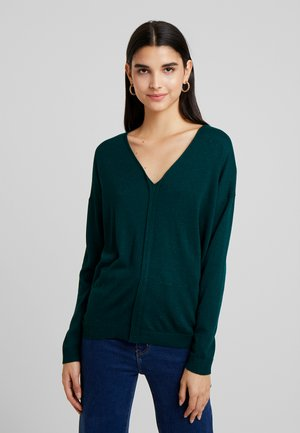 V NECK - Jumper - dark green