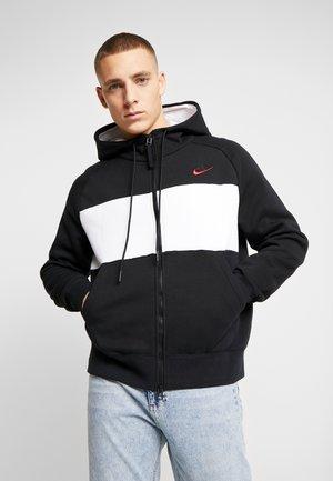 HOODIE  - Zip-up hoodie - black/white/red