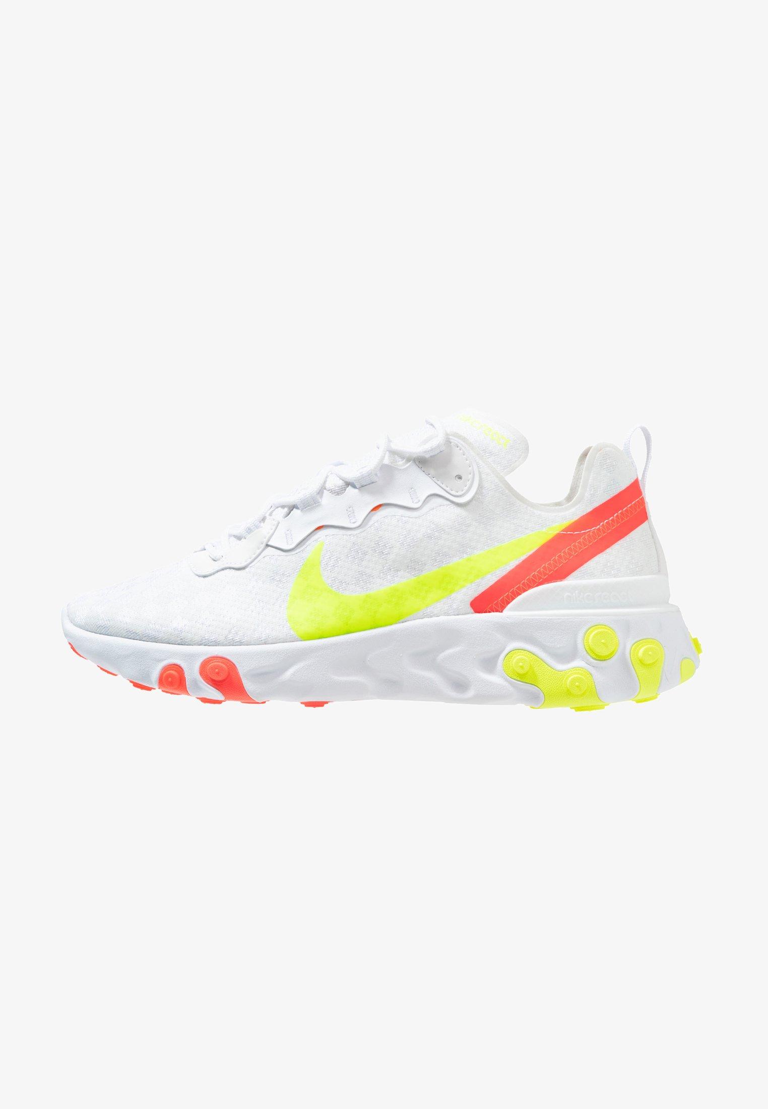 Dirigir Detectable deseable  Nike Sportswear REACT ELEMENT 55 - Trainers - white/volt/flash  crimson/hyper crimson/white - Zalando.co.uk