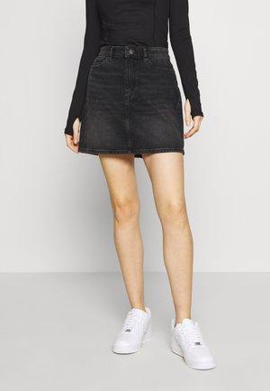 ONLROSE LIFE ASHAPE SKIRT - Denim skirt - black