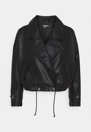SLOUCH BIKER - Faux leather jacket - black