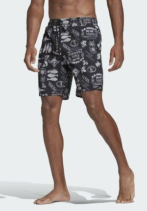 CLASSIC-LENGTH GRAPHIC SWIM SHORTS - Swimming shorts - black