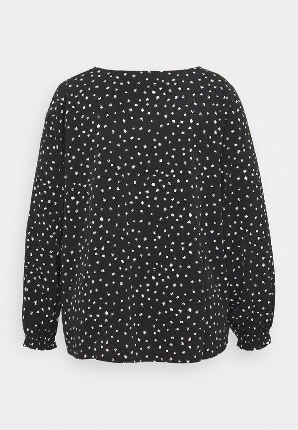 Dorothy Perkins Curve CURVE SHIRRED CUFF SPOT - Bluzka z długim rękawem - black/wielokolorowy RKBC