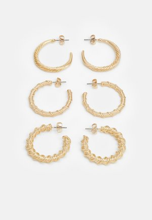 PCLALY HOOP EARRINGS 3 PACK - Náušnice - gold-coloured