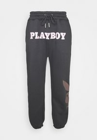 Mennace - PLAYBOY UNISEX BIG BUNNY - Tracksuit bottoms - charcoal - 0
