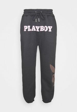 PLAYBOY UNISEX BIG BUNNY - Tracksuit bottoms - charcoal
