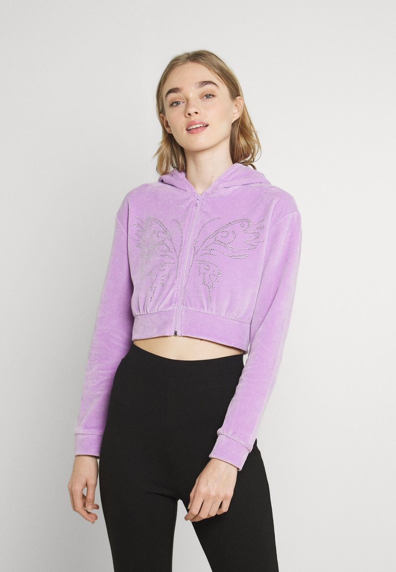 NEW girl ORDER - DIAMANTE BUTTERFLY HOODIE - Zip-up sweatshirt - lilac