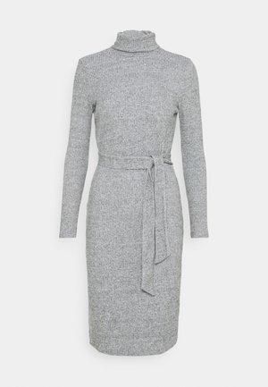 TIE WAIST ROLL NECK MIDI DRESS - Jumper dress - grey marl