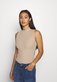 Missguided - CUT OUT BACK BODYSUIT - Top - taupe - 0