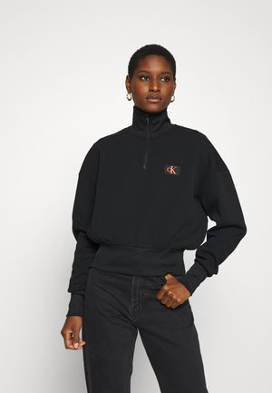 BADGE MOCK NECK ZIP - Long sleeved top - black