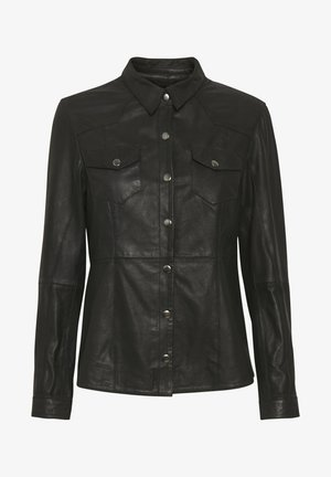 THE LEATHER  - Button-down blouse - black