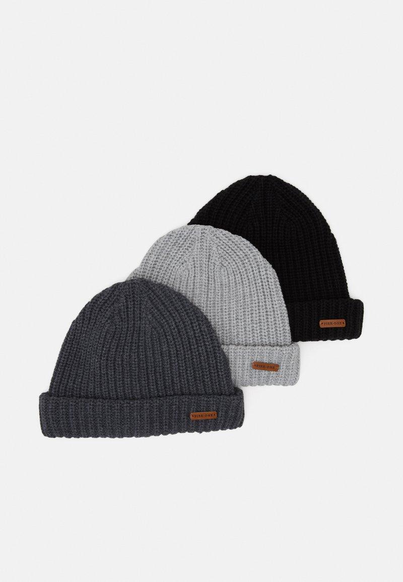 Pier One - 3 PACK - Bonnet - black/light grey/dark grey