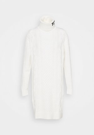 TURTLE NECK DRESS - Stickad klänning - snow white