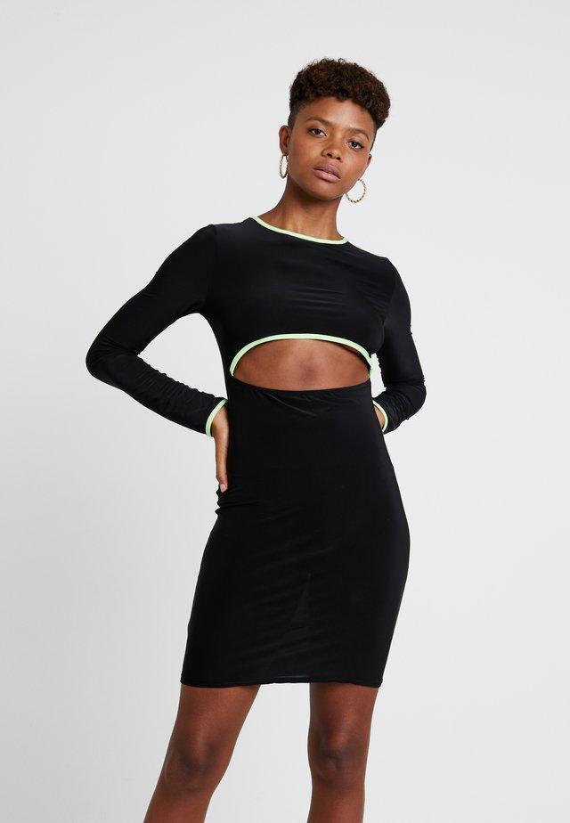 PIPING CUT OUT SLINKY MINI DRESS - Vestido ligero - black