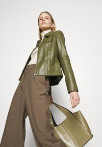 comma - Faux leather jacket - deep green - 3