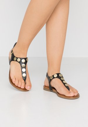 LEATHER - T-bar sandals - black