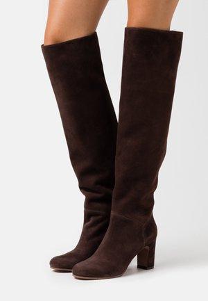 NO ZIP - Over-the-knee boots - dark brown