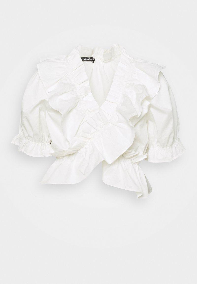 Gina Tricot - NAIMA FRILL  - T-shirt z nadrukiem - offwhite