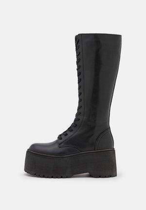 LEATHER - Šněrovací vysoké boty - black