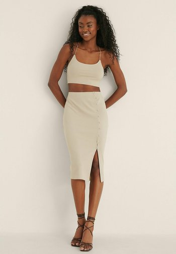 KNOPFDETAIL - Pencil skirt - beige