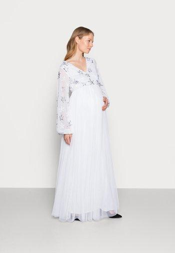 EMBELLISHED BISHOP SLEEVE DRESS - Abito da sera - white