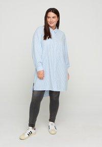 Zizzi - Button-down blouse - skyway stripe - 1