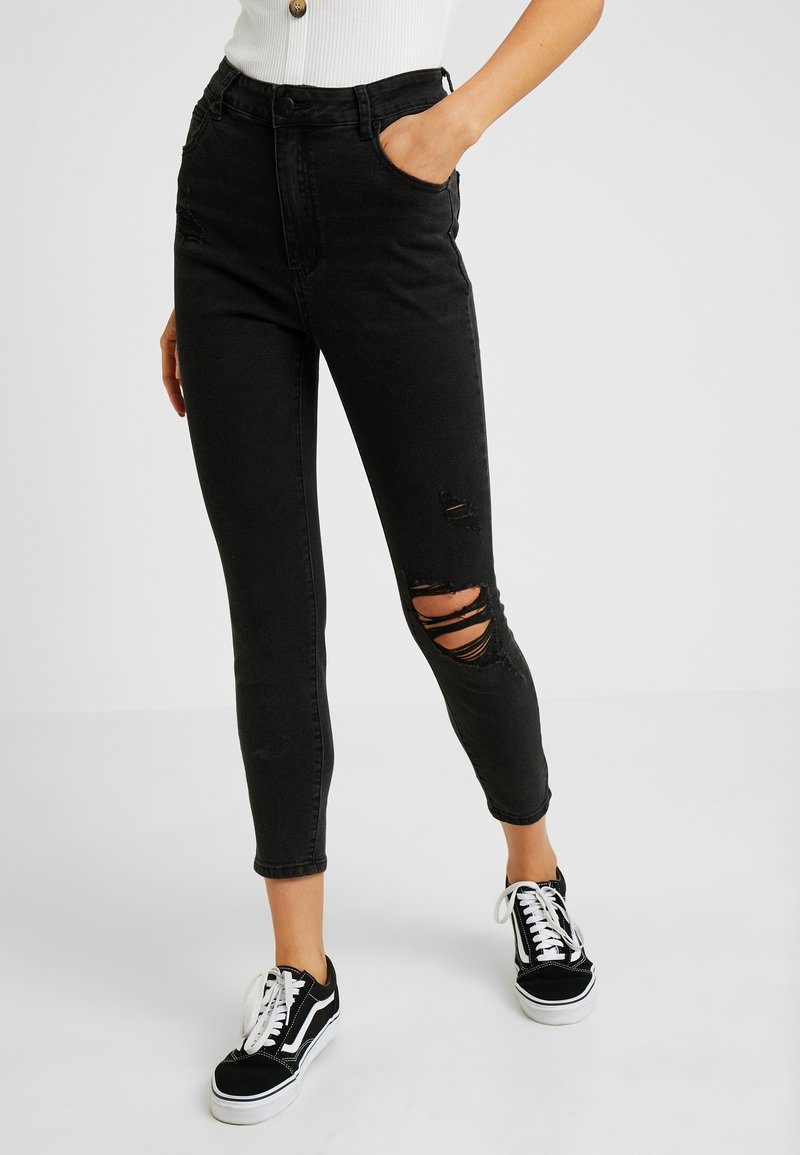 Cotton On - HIGH RISE CROPPED - Skinny džíny - black