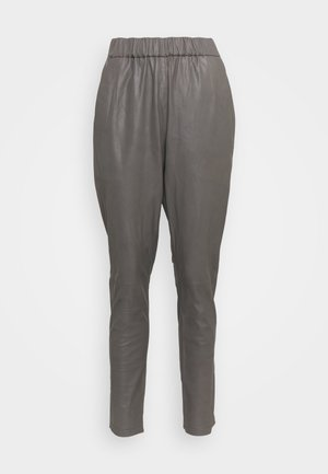 PANT - Leather trousers - concrete
