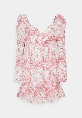 PRINTED WRAP FRONT FRILL HEM MINI DRESS - Day dress - white