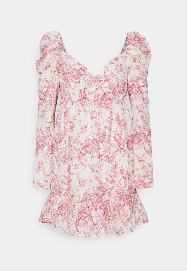 PRINTED WRAP FRONT FRILL HEM MINI DRESS - Kjole - white