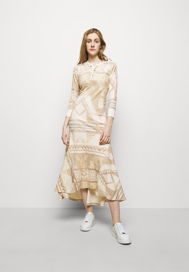 NOVELTY TEXTURE - Vestido de punto - beige/multicoloured