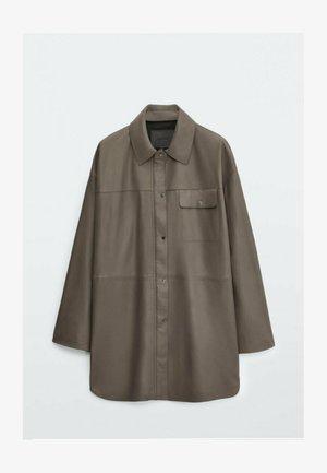 Leather jacket - metallic grey