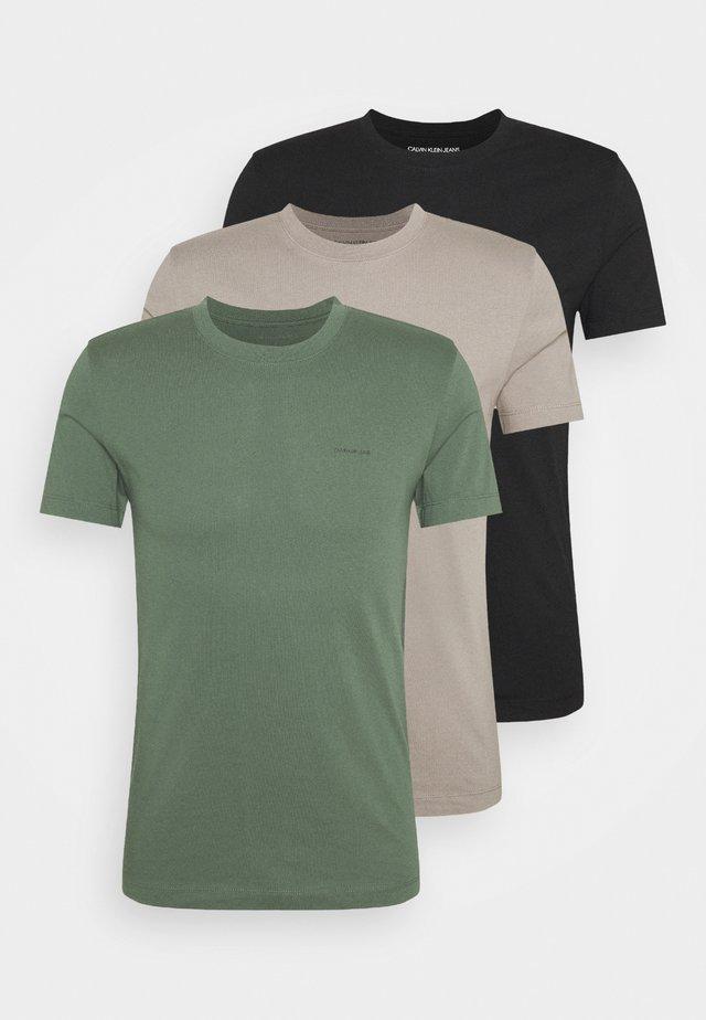 SLIM TEE 3 PACK - T-shirt basic - olive/black/grey