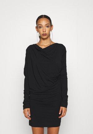 DRAPE TUNIC DRESS - Jersey dress - black